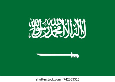 Simple flag Saudi Arabia. Saudi Arabian flag. Correct size, proportion, colors