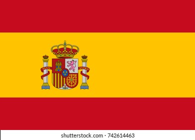 Simple flag of Spain. Spanish flag. Correct size, proportion, colors.