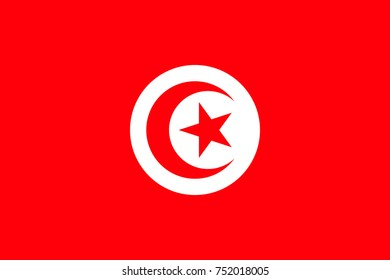 Simple flag Tunisia. Correct size, proportion, colors