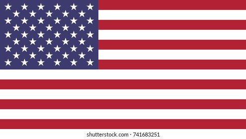 Simple flag of United States of America, American Flag. Correct size, proportion, colors