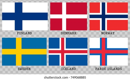 Simple flags of Scandinavia.Nordic countries. Correct size, proportion, colors