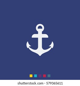Simple flat anchor vector icon. White marine logo isolated on blue background.