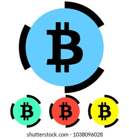 Simple, flat bitcoin icon. Broken black outline. Four variations. Isolated on white