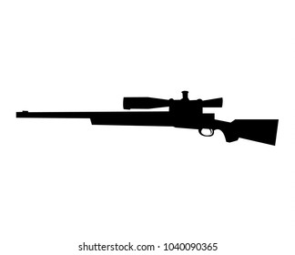 Simple, flat, black silhouette of a sniper rifle