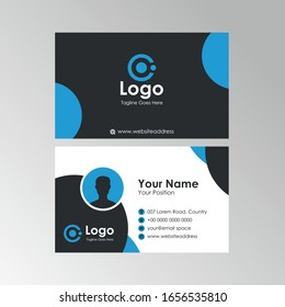 Simple flat business card with blue and black color design, professional name card template vector