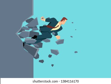 Simple flat business vector illustration of a businessman breaking the wall. Business, breakthrough, success, challenge concept