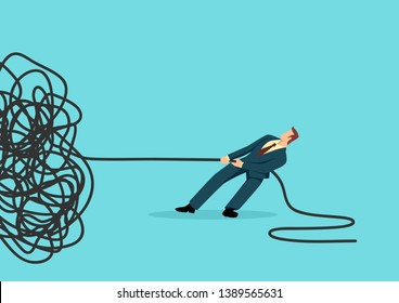 Simple flat business vector illustration of a businessman trying to unravel tangled rope or cable