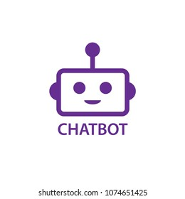 Simple flat Chat bot head icon. Isolated on white.