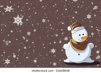 Simple flat Christmas card with cute snowman with scarf in vector. Christmas background with snowman and snowflakes. New year illustration.