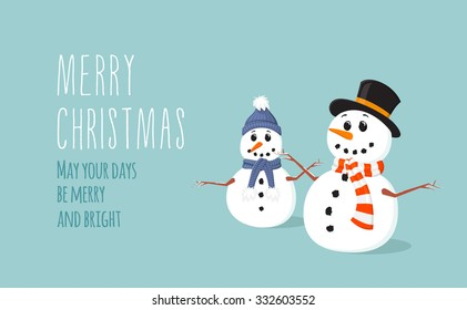 Simple flat Christmas card with two cute snowmen with scarf in vector