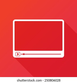 Simple Flat clean video player for web and mobile apps. Vector illustration flat design with long shadow