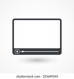 Simple Flat clean video player for web and mobile apps. Vector illustration flat design