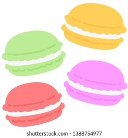Simple and flat colored macaroons set