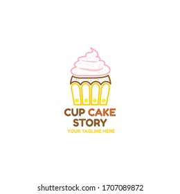 Simple Flat Cup Cake Logo Template for your cake shop, store, cafe, restaurant, business, and many more. In line style concept design.