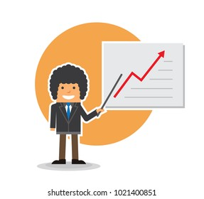 simple flat design of afro business man with board pointer, showing chart presentation of profit arroe