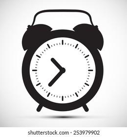 Simple Flat Design Alarm Clock Vector Icon Illustration