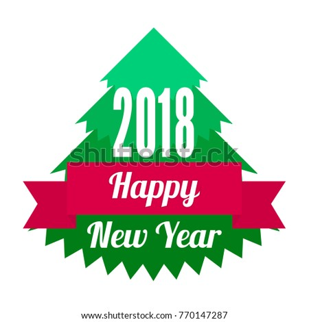 Simple Flat Design Happy New Year Stock Vector Royalty Free