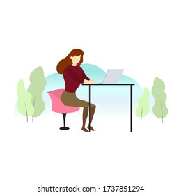 Simple Flat Design Illustration. Female Working with Laptop on the Outdoor. New Normal Daily Activity.