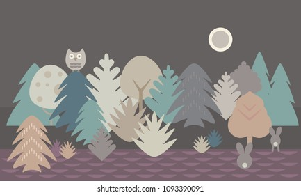 Simple flat design illustration of forest and field with owl and two hares under night sky with moon - retro vector
