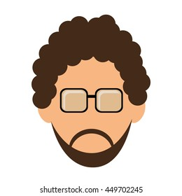 simple flat design man with curly hair and beard icon vector illustration