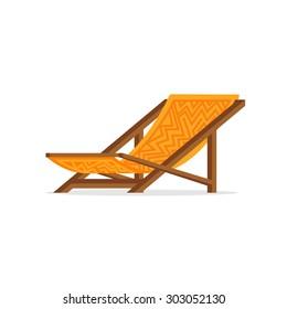 Simple flat design orange summer wooden beach chair with aztec pattern