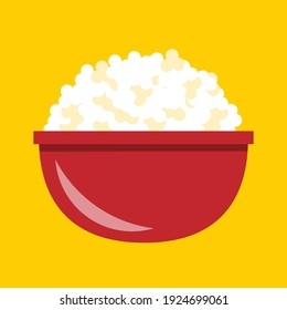 Simple flat design popcorn snack in a red bowl vector graphics