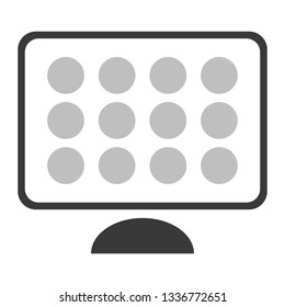 Simple flat design style vector of a computer with app icons on screen