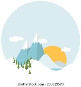 Simple Flat design winter snowy landscape with mountains and trees