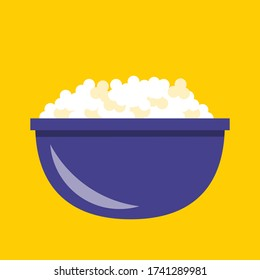 Simple flat desing Bowl of Popcorn vector graphics