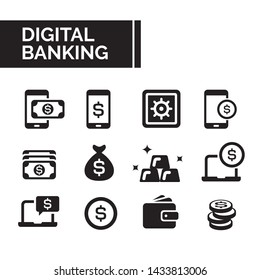 Simple flat filled basic icon elements set of digital banking activities