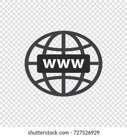 Simple flat Globe www ion. Vector illustration isolated on transparent background. Social network http address sign. Web button for mobile application.