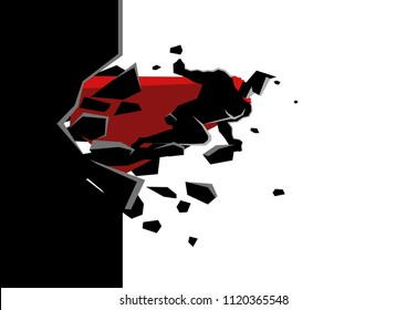 Simple flat graphic vector of a superhero break through concrete wall