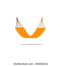 Simple flat hammock orange isolated with aztec pattern