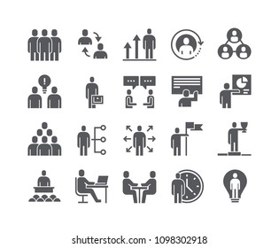 Simple flat high quality vector icon set,Business Office Related People Meeting, Winner, Teamwork, Presentation, Conversation, Employment.48x48 Pixel Perfect.