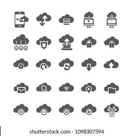 Simple flat high quality vector icon set,Computer Cloud Internet System, Data Sharing, Transfer, Settings, Synchronization, Safety, Server.48x48 Pixel Perfect.