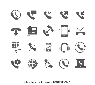 Simple flat high quality vector icon set,Global Calls, disconnect, Online Support, Mobile Phone and more.48x48 Pixel Perfect.
