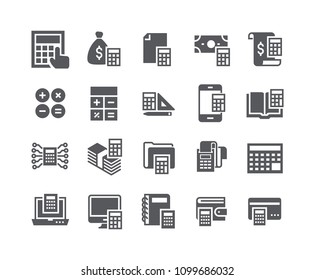 Simple flat high quality vector icon set,Calculation related icons collection, banking, receipts, engineering calculators and more.48x48 Pixel Perfect.