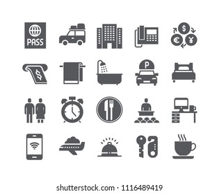Simple flat high quality vector icon set,Hotel Building, Hotel Service, Bathroom tour car and more. .48x48 Pixel Perfect.