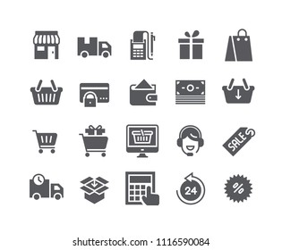 Simple flat high quality vector icon set, e-commerce icon, Shopping Bag, Store, Sale, Online Support and more. .48x48 Pixel Perfect.