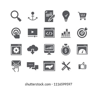 Simple flat high quality vector icon set, Search Engine Optimization icon, SEO, Coding, Webpage Speed, Support and more.48x48 Pixel Perfect.