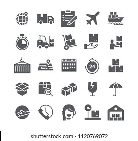 Simple flat high quality vector icon set,Express Delivery, Tracking, delivery car, Logistics and more. 48x48 Pixel Perfect.