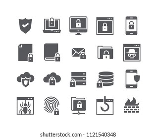 Simple flat high quality vector icon set,Internet security, Database Protection, Spy, Spam, Fishing and more. 48x48 Pixel Perfect.