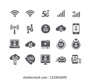 Simple flat high quality vector icon set,new 5th generation mobile network, high speed connection wireless systems and more. 48x48 Pixel Perfect.