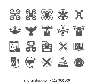 Simple flat high quality vector icon set,air drones, quadrocopters and remote control drones and more. 48x48 Pixel Perfect.
