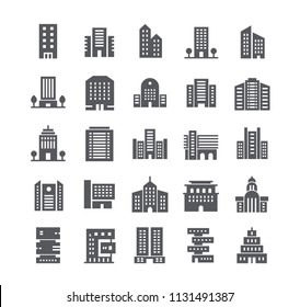 Simple flat high quality vector icon set, government and commercial city buildings and institutions and more. 48x48 Pixel Perfect.