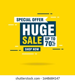 Simple Flat Huge Sale Letter Sign Shape Banner Design, Discount Banner Template Vector for advertising, social media, web banner