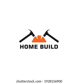 Simple flat icon home build logo