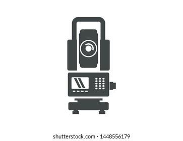simple flat icon illustrating a theodolite
