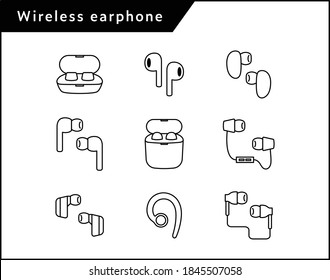 Simple and flat icon set of wireless earphones