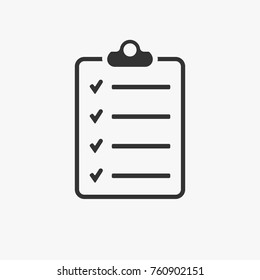 Simple flat illustration of checklist isolated on white background